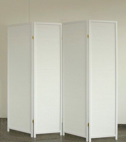 White Wood Room Divider - 4 Panel