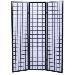 Shoji Folding Room Divider Screen - 3 Panel - Black