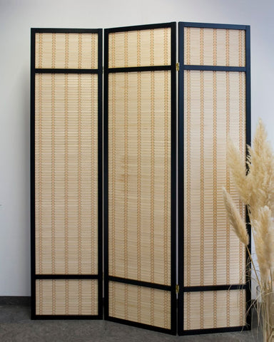 Black Bamboo Shoji Screen - 3 Panel