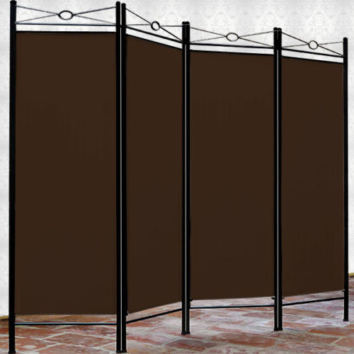 Spanish 4 Panel Room Divider Screen - Brown