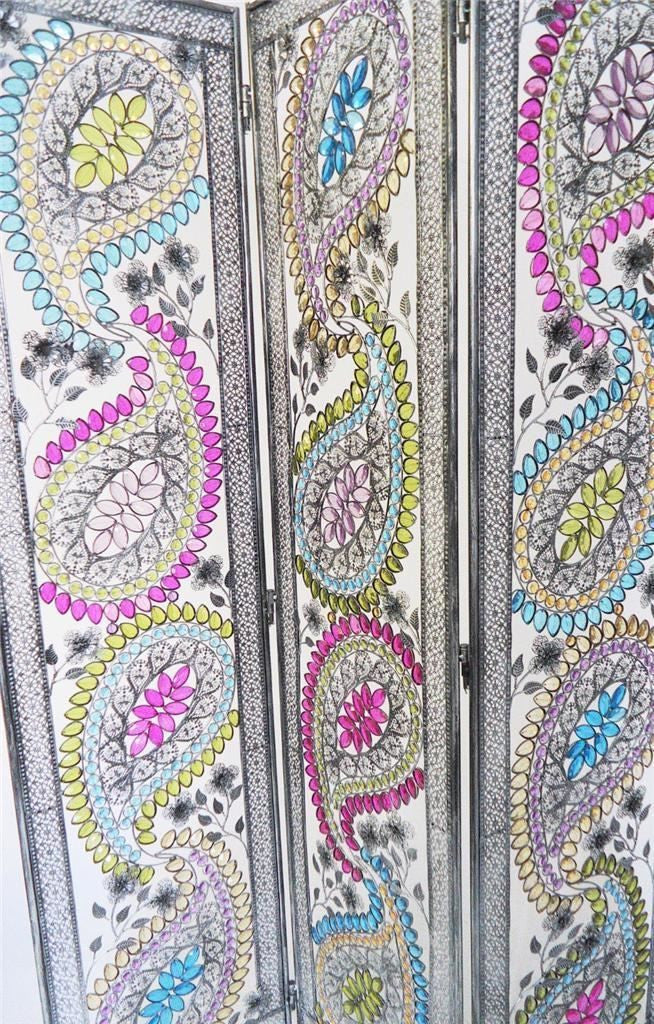 6 Ft Tall Solid Frame Fabric Room Divider 4 Panels: Art Deco Retro Feather Design Metal Room Divider Screen