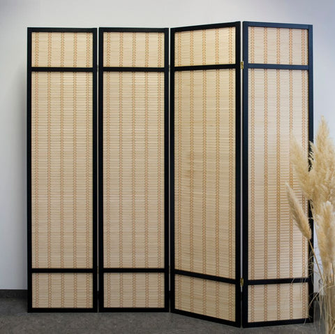 Black Bamboo Shoji Screen - 4 Panel