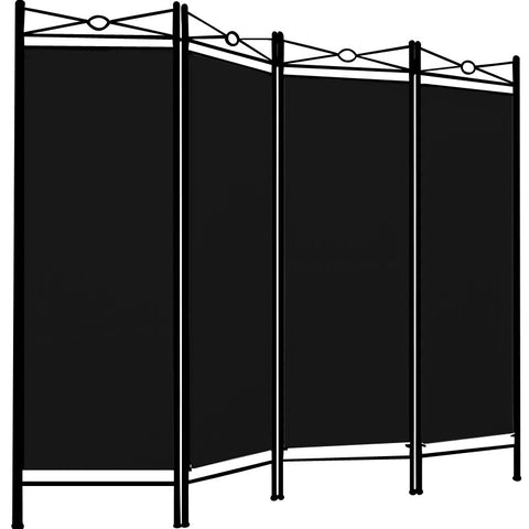Spanish 4 Panel Room Divider Screen - Black