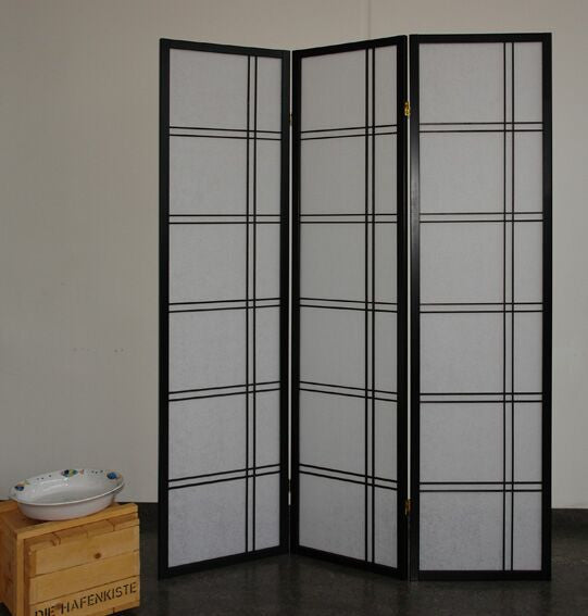 Shiro Room Divider Screen - Black - 3 Panel