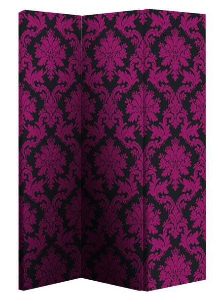 Black & Pink Damask Room Divider Screen