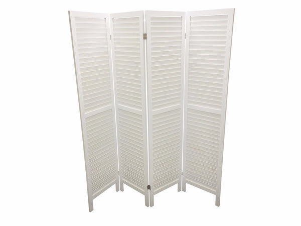 Wooden Slat Room Divider Screen - 4 Panel - White