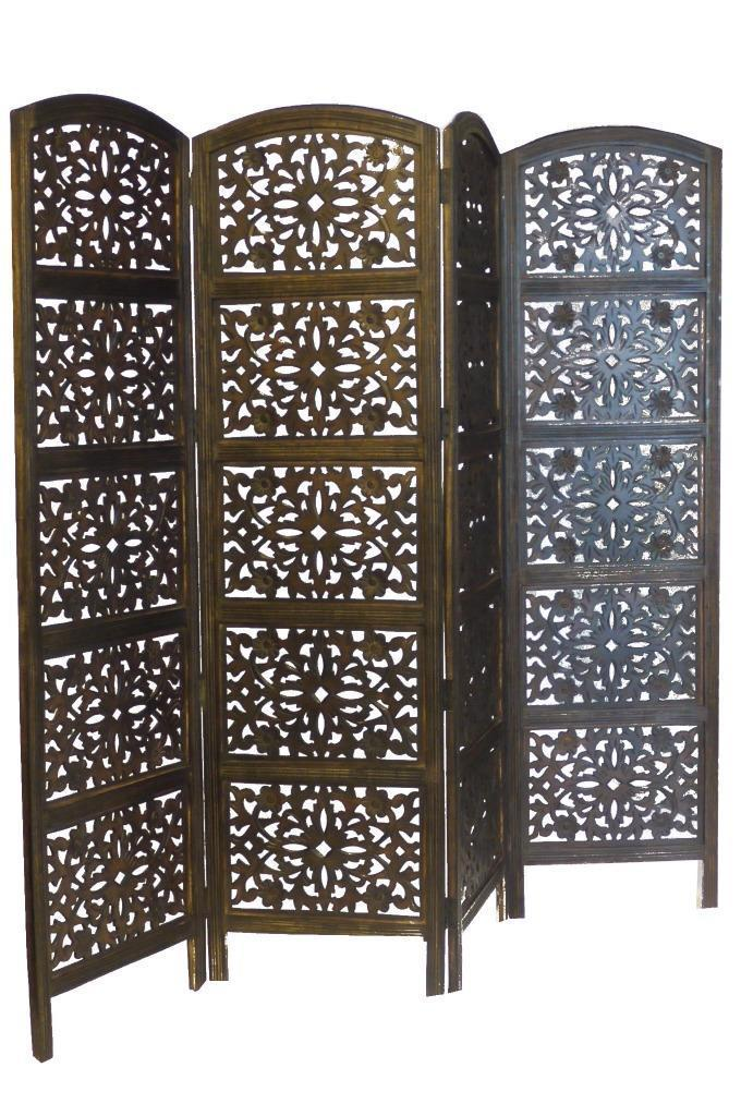 Hand Carved Flower Design Room Divider Screen - Dark Brown