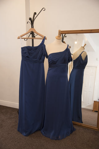 Belsoie royal blue one shoulder full length dress