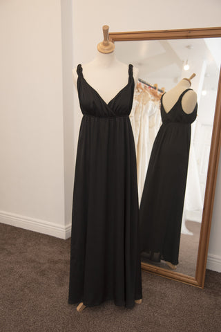 H & M black full length dress with plaited straps