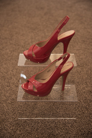Dorothy Perkins red high heeled open toe shoes