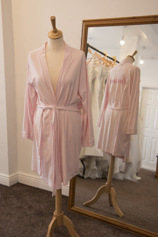'Bridesmaid' dressing gown - pink with pink embroidery