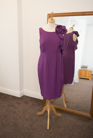 Teatro deep purple dress with floral detail