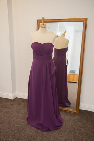 JJ's House grape strapless dress with sweetheart neckline