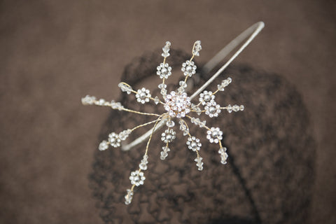 Headband with diamante flowers - golden casing