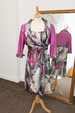 John Charles floral fuchsia dress and jacket