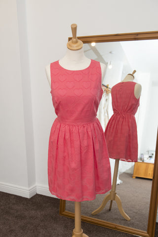 New Look coral short dress with heart detail