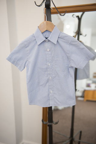 Duck & Dodge blue gingham short sleeve shirt