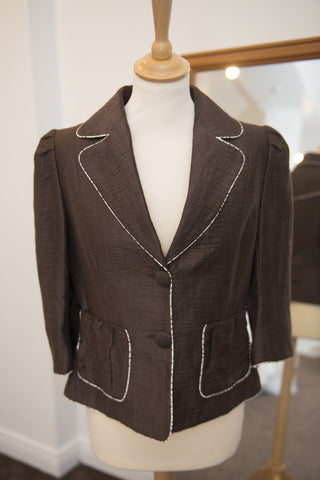 Kate Cooper chocolate brown short jacket with 3/4 length sleeves
