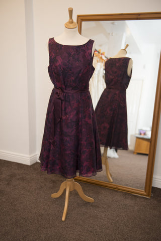 John Lewis Woman plum/aubergine floral print dress
