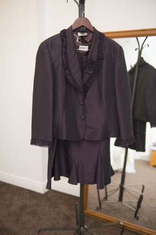 John Bentley deep purple three piece skirt suit