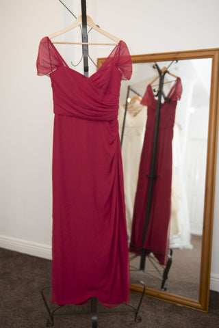 Dessy Collection claret chiffon full length dress