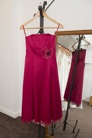 Sophie Gray cerise pink dress with flower and tie to back