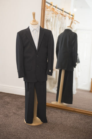 1880 Club black suit with feint pinstripe