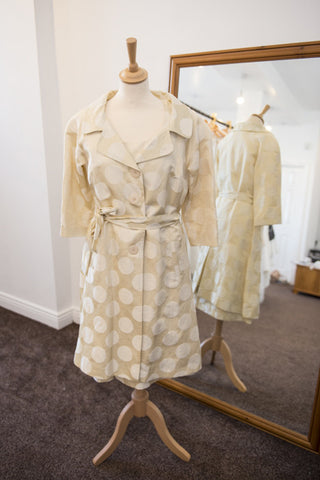 Fee G cream polka dot dress with jacket