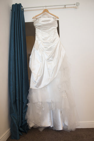 Ivory satin bridal dress with part tulle skirt