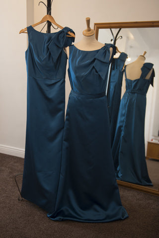 After Six deep teal full length satin dress