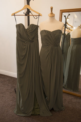 Dessy moss green chiffon dress