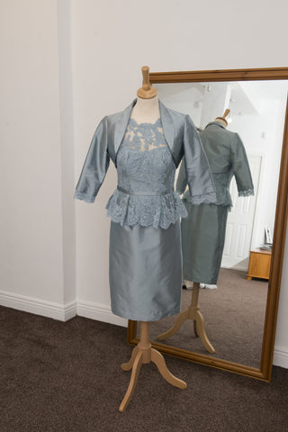 John Charles duck egg blue dress and jacket
