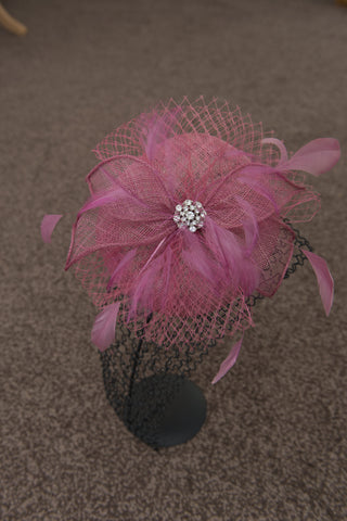 'Fabulous' deep pink head piece