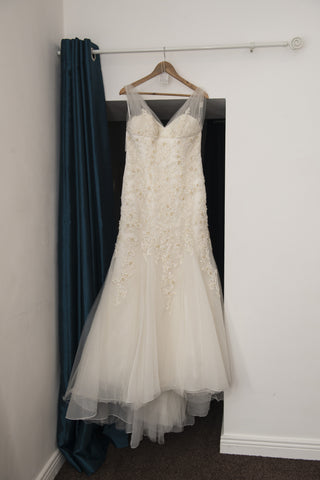 Benjamin Roberts bridal dress with soft netted shoulders