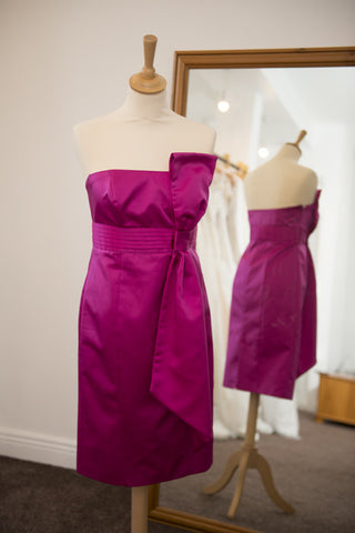 Debut hot pink strapless dress with bow detail