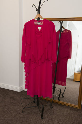 Joseph Ribhoff cerise pink chiffon dress with jacket