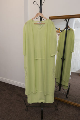 Joseph Ribhoff lime green dress with jacket