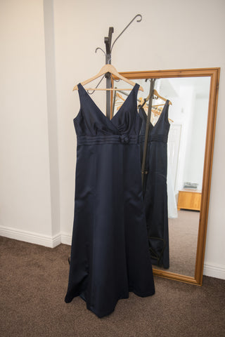 Dessy midnight blue full length dress with flower detail