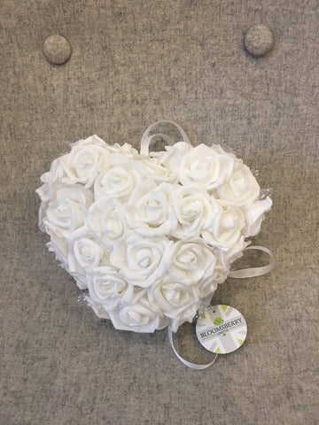 Ivory faux flower posy with ribbon