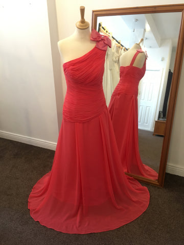 Coral one shoulder chiffon dress with satin bow