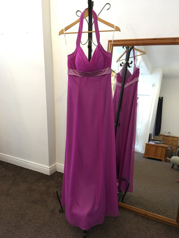 Belsoie grape full length chiffon dress