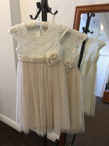 'Occasion Wear' dress with ivory lace bodice and champagne peach soft tulle skirt