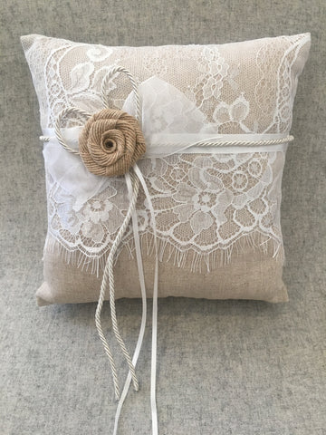 Ring cushion with lace and burlap flower
