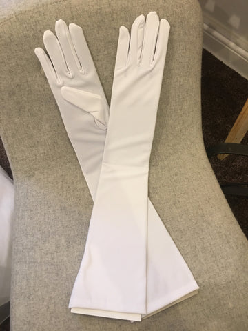 White satin above elbow gloves