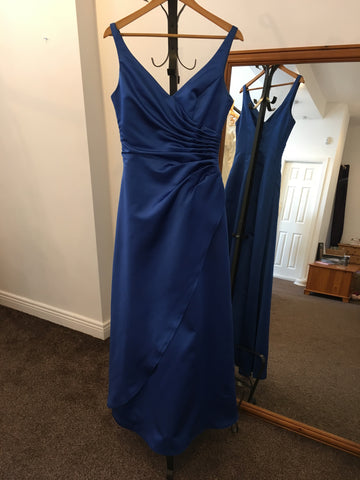 Impression Bridal royal blue full length satin dress