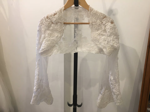 Off white lace bolero with sequins and faux pearls