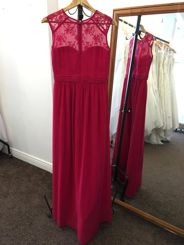 Little Mistress deep pink full length dress