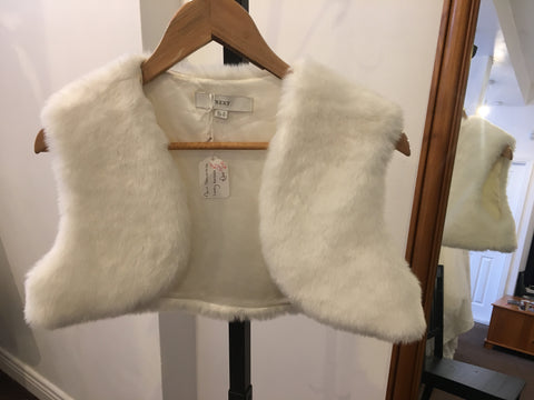 Next ivory sleeveless faux fur bolero