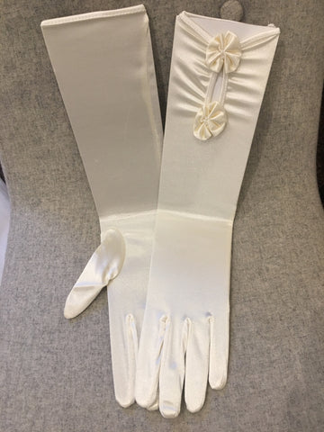Ivory satin gloves with flower detail