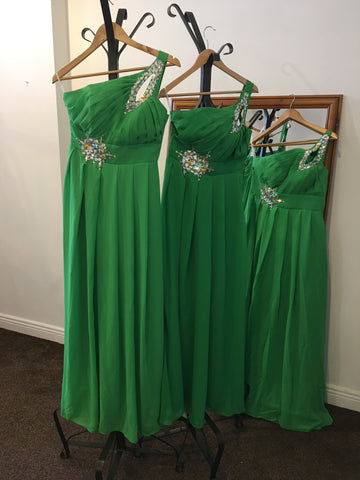 Green one shoulder full length dress